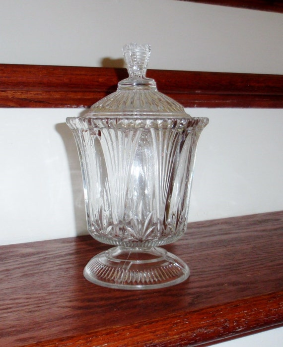 "DEPRESSION GLASS CLEAR Cut Pressed Crystal Candy Jar Dish Bowl Lidded Covered Retro 8"" Tall Footed Excellent Condition"