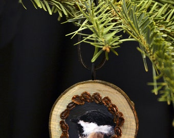 "CHICKADEE Wood Ornament -""Hidden CHICKADEE"""