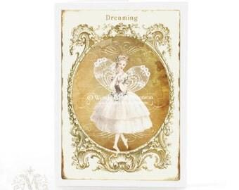 Fairy card, dreaming of a little magic, Christmas card, Birthday card, holiday card, blank inside