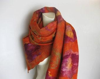 Felted Scarf Shawl Wool Silk Multicolor Floral Pumpkin Purple Violet