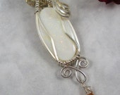 Firey Australian Fine Opal Wire Wrapped in Sterling Silver Pendant