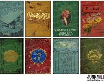 "BOOKSHELF - Digital Printable Collage Sheet - 2.5"" x 3.5"" - Antique Vintage Victorian Book Cover Images, ATC Backgrounds, Digital Download"