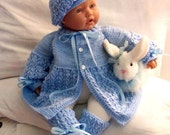 Custom handmade  knit baby boys or Reborn Dolls Baby Blue Sweater hat  booties set Layette- 0-12M-Lovely Baby Gift or Photos