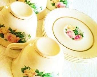 Vintage Shabby Chic French Rose Limoge Teacups and Saucers, Set of Eight, Cottage Home, Olives and Doves