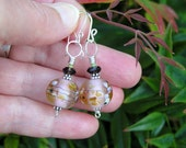 SALE. artisan lampwork glass, smoky quartz, and  bali sterling silver dangle earrings. pink and brown.