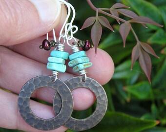 turquoise, freshwater pearl, and Vintaj brass gemstone earrings.  bohemian mixed metal dangle earrings. blue green burgundy. hippie earrings