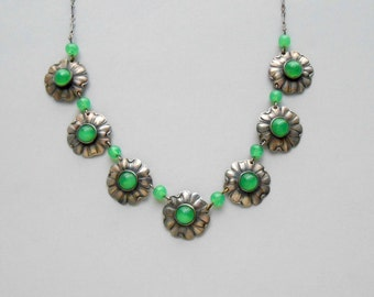 Antique Sterling Necklace. Chrysoprase Green Glass. Late Arts & Crafts Early Art Deco.