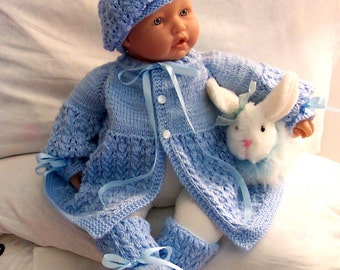 Blue baby Sweater hat  booties set Layette- 0-12M-Lovely Baby Gift or Photos -Ready To Ship