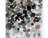 Black dots watercolor painting abstract painting Abstract wall art  little painting black earth