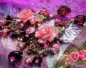 4 Long Orange Exotic Floral Chandelier Earrings Pink
