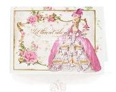 Marie Antoinette, card, let them eat cake, pink roses, macarons, birthday card, pink, vintage style, shower tea card, high tea card, blank