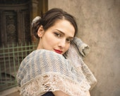winter gift - large knit scarf - bohemian shawl - linen scarf - extra long - bohemian clothing - blue ecru shawl - spring fashion