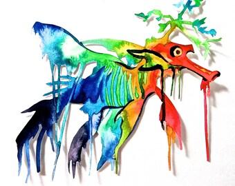 Rainbow Seadragon Print, Original Art, Liquid Acrylic