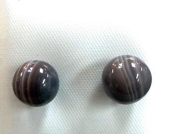 9.5mm Botswana Agate Earrings in 14kt Gold