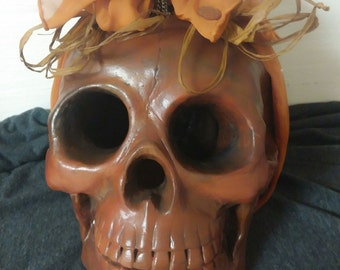 Rust Colored Skull with Scarf and Pin