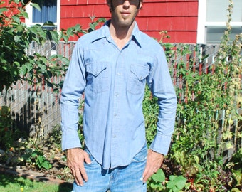 Vintage Western Shirt Light Blue Sears Snap Up Shirt