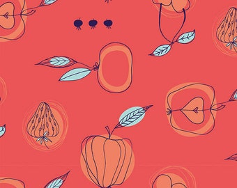 Orchard in Dark Coral fabric