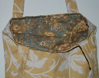 Handmade Designer Fabric Tote Bag Yellow with Leaves