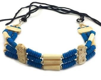 Handmade Traditional 3 Line Buffalo Bone Hairpipe Beads Tribal Choker Necklace