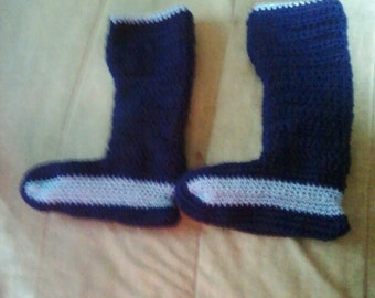 Crocheted long booties