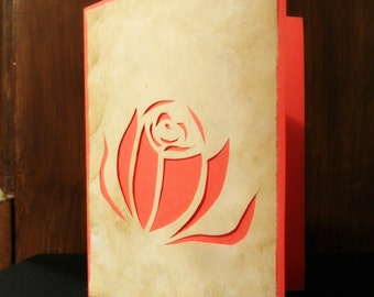 Rose Flower Cutout Design on Tea Stained and Colored Paper - Blank Card [for him, for her, for all occasions]