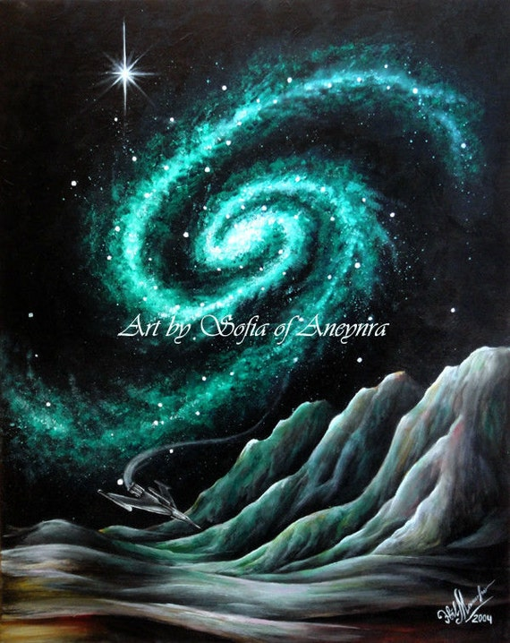 Space Emerald Galaxy & unknown planet. Original contemporary