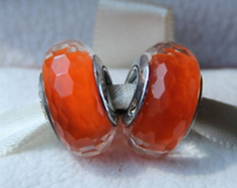 1x Orange Fascinating Faceted Glass Murano Bead Sterling Silver Core
