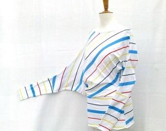 The Striped - Asymmetric tunic size (US) 6/10 - (UK) 10/14, stretch cotton printed multicolored stripes