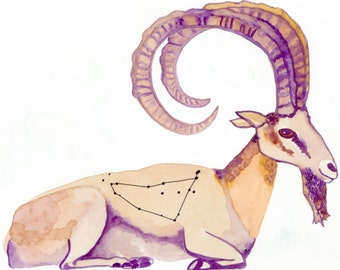 Capricorn---> Watercolor Art, Archival Print, Earth Sign, Zodiac, astrology, Constellation, Goat, Stars, Horns, Cosmos
