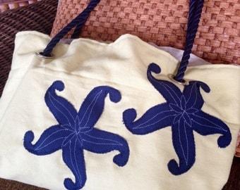 Starfish Beach Bag, Nautical Tote