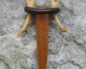 Belemnite (fossil squid), ebony, & tagua nut necklace