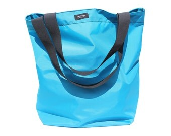 Aqua Blue Basic Market Tote made from 100% Nylon --durable, lightweight, water-resistant, washable.