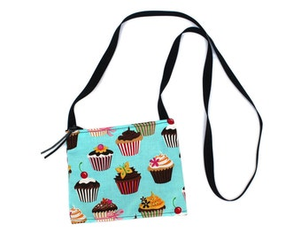 Mini crossbody bag - Blue Cupcake fabric  perfect for travel or a night out!