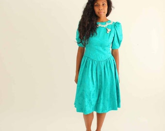 80s puffy sleeve dress .  jacquard dress . 1980s prom dress