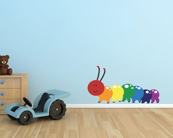 Rainbow Caterpillar wall decal- Reusable Nursery Wall Stickers, Child Decor, 21x11