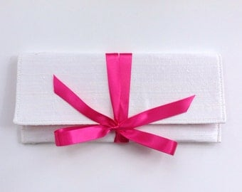 Wedding Clutch in ivory silk with hot pink bow // Bridal ALEXIS envelope clutch