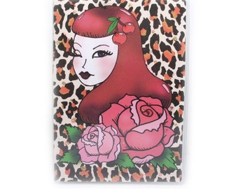 Passport Cover - Rockabilly Tattoo Girl - leopard and rose print passport holder - old school retro tattoo style - pin up