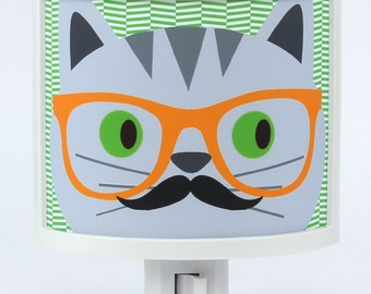 Cat in Glasses with Mustache illustrated Night Light Cute Nursery Bathroom hallway Bedroom GET IT nightlight Nite Lite Gifts under 25