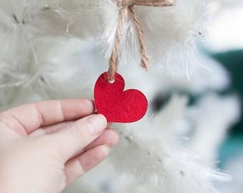Tiny Heart Ornament - Red Felt Ornament - Small Heart Pendant Tree Ornament Christmas Heart