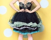 New York Couture  One of a Kind *Custom Made* STUDDED Pastel Lace Trim Bustier PARTY Dress