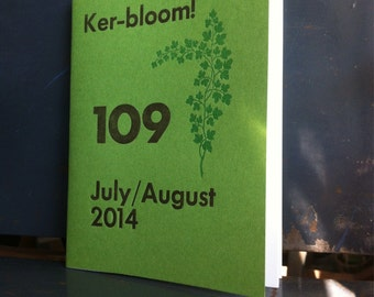 Ker-bloom letterpress zine about moving cross country