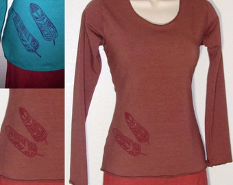 Organic Cotton and soy blend Terry cloth Long sleeved top- Handmade to order and printed with original feather art