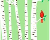 Screenprint Spring Cardinal Art Print - Modern Birch Trees Cardinal Red Bird Silkscreen Poster Print Wall Art Decor