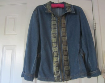 Denim jacket with zipper front and sparkly trim size 14