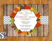 Fall Baby Shower Rustic Wood Autumn Printable Invitation Fall Birthday Invite Autumn Invitation (PI-77)
