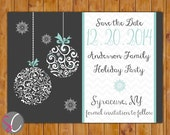 Christmas Holiday Party Save the Date Chevron Card Ornate Christmas Ornament Card Blue Gray Grey Card DIY Printable 5x7 Digital JPEG (352)