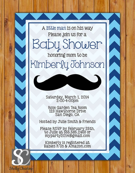 little man mustache baby shower invitation chevron shower invite navy