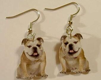 Handcrafted Plastic 2 Dimensional Bulldog Dangle Earrings