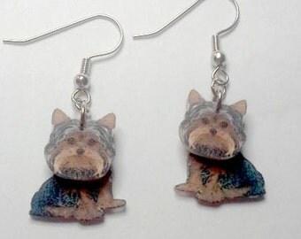 Handcrafted Plastic 3D Yorkshire Terrier Earrings