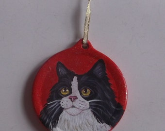 Tuxedo Cat Maine Coon Custom Painted Christmas Ornament Decoration
